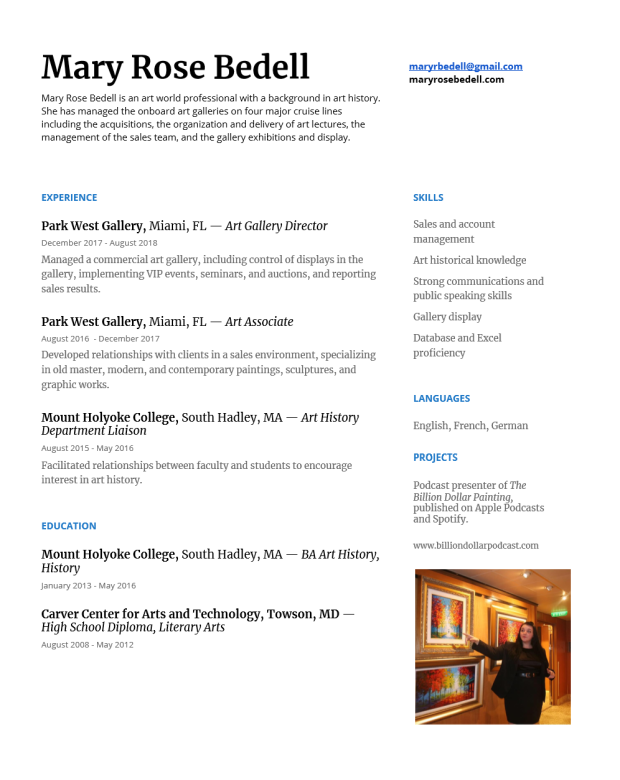 Mary Rose Bedell Resume Updated February 2019